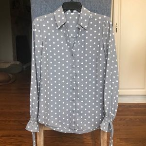 Express Gray Polka Dot Slim Fit Portofino Shirt